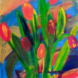 Tulips in a vase painting in acrylic by Kay Gale — Stock Photo