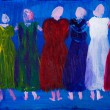 Six women in dresses painting by Kay Gale — Stock Photo