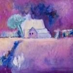 casa colonica sulla pittura di terreni agricoli in oli — Foto Stock