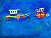 2 つの漁船が海でケイ gale 絵画 — ストック写真
