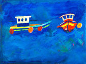 Two fishing boats at sea painting by Kay Gale — Stock Photo