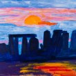 Stonehenge in UK painting by Kay Gale - Stock Photo