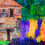 francês pintura de casa de pedra e lavendar por gale kay — Foto Stock