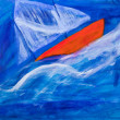 Sailing boat racing painting by Kay Gale — Stock Photo
