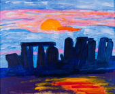 Stonehenge in UK painting by Kay Gale — Stock Photo