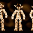 Cowboy boxmen characters HDR with dark background — Stock Photo