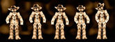 Cowboy boxmen characters HDR with dark background — Stockfoto