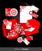 Set de papelería rojo diseño — Vector de stock
