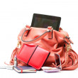 Pink Leather Ladies Handbag with Tablet PC on white background — Stock Photo