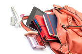 Pink Leather Ladies Handbag with Tablet PC — Stock Photo