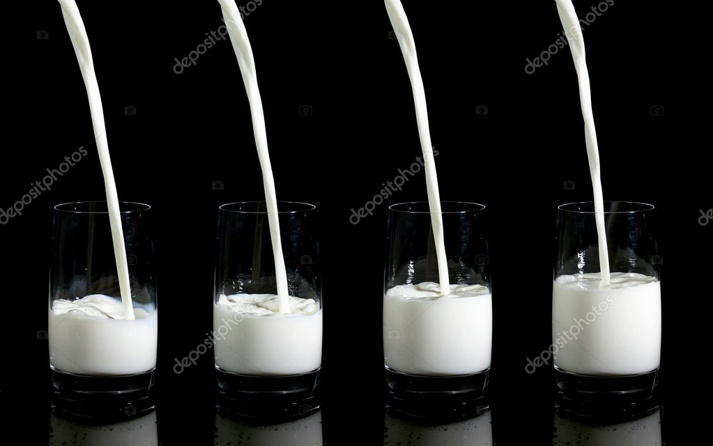 Collage of Pouring Milk in Glass, on black background — Stock Photo #11203083