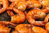 Fried King Prawns in a Frying Pan — Stock Photo