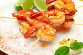 Fried King Prawns Served in Plate — Stock Photo