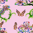 Royalty-Free Stock Photo: Floral Stylish Wallpaper, Seamless Pattern