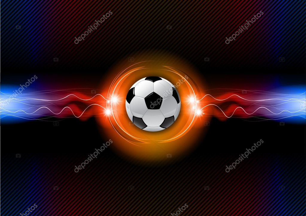 Soccer ball on the flashing background — Stock Vector #10818691