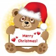 Christmas bear with banner — Stock Vector