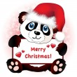 Stock Vector: Christmas Panda with heart banner