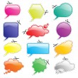 Speech bubbles bright with scissors - Stock Vector