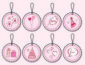 Birthday doodle gift tags — Vector de stock
