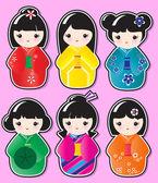 Kokeshi stickers — Stock Vector