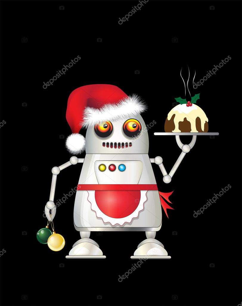 A robot dressed for Christmas and serving Christmas pudding. Isolated on black. EPS10 vector format. — Stock Vector #11308300