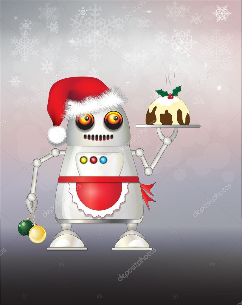 A robot dressed for Christmas and serving Christmas pudding. EPS10 vector format.  Stock Vector #11308301
