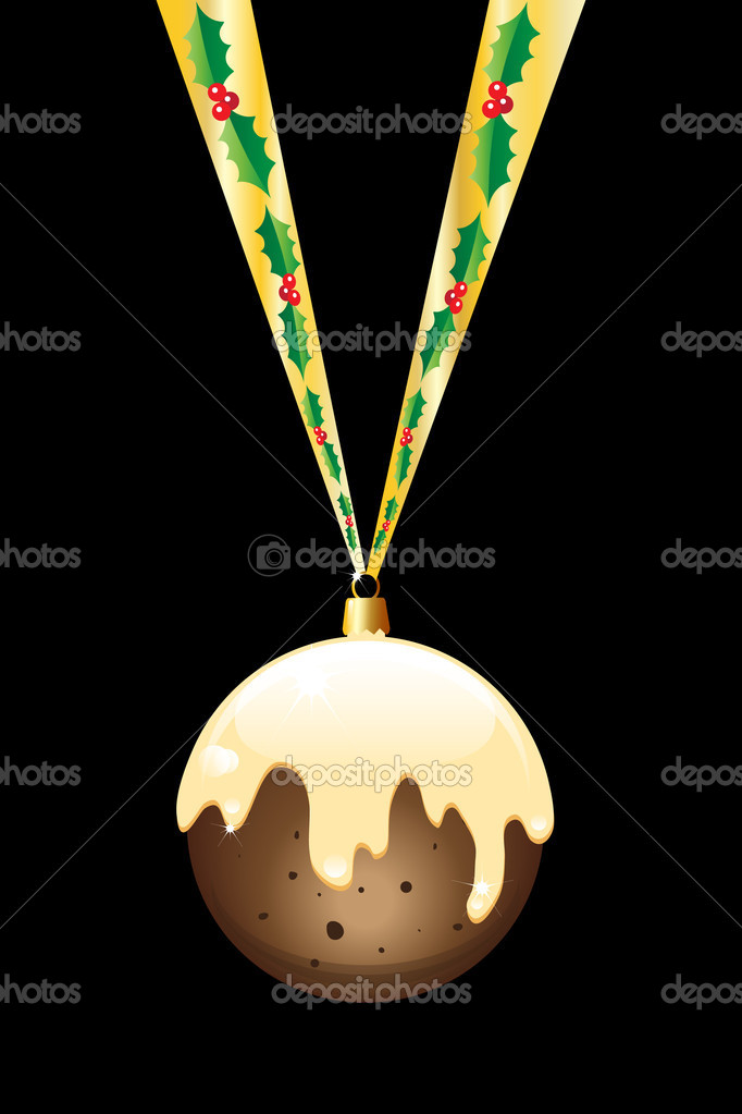 A Christmas pudding bauble hanging on a gold ribbon with holly. Isolated on black. EPS10 vector format. — Stock Vector #11309640