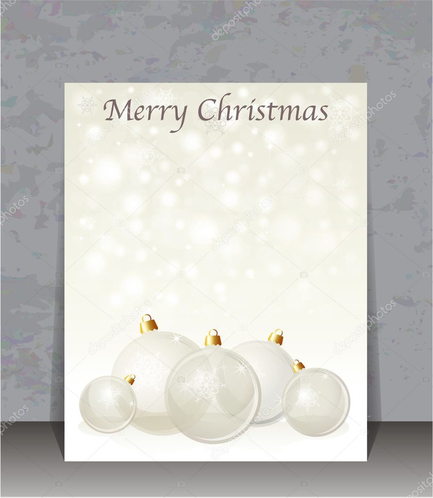 Christmas flyer template. Glass Christmas baubles on snowflake background with space for your text. Neutral background with  transparent glass baubles. EPS10 vector format. — Stock Vector #11309688
