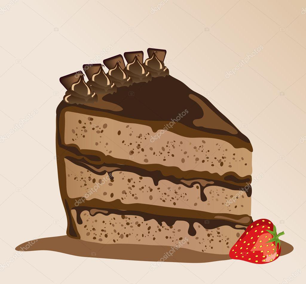 用草莓 s 巧克力蛋糕.eps10 矢量格式 — 矢量图片作者 rixipix