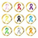 Awareness ribbon stickers — Stock Vector