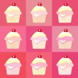 Stock Vector: Cupcakes pop art