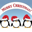 Royalty-Free Stock Vector Image: Penguins with Christmas banner