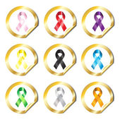 Awareness ribbon stickers — Stock Vector