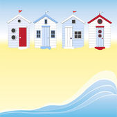 Cabines de plage avec de l'eau — Vecteur