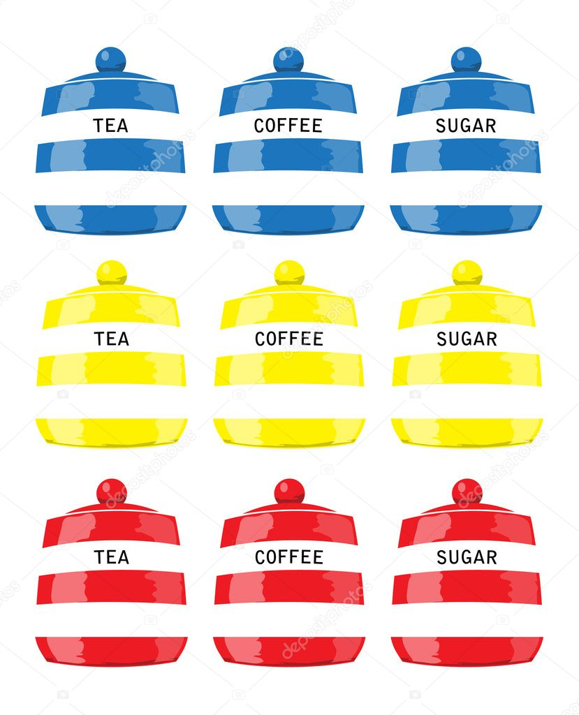 Kitchen storage jars for tea, coffee and sugar in primary colours. EPS10 vector format — Stock Vector #11322992