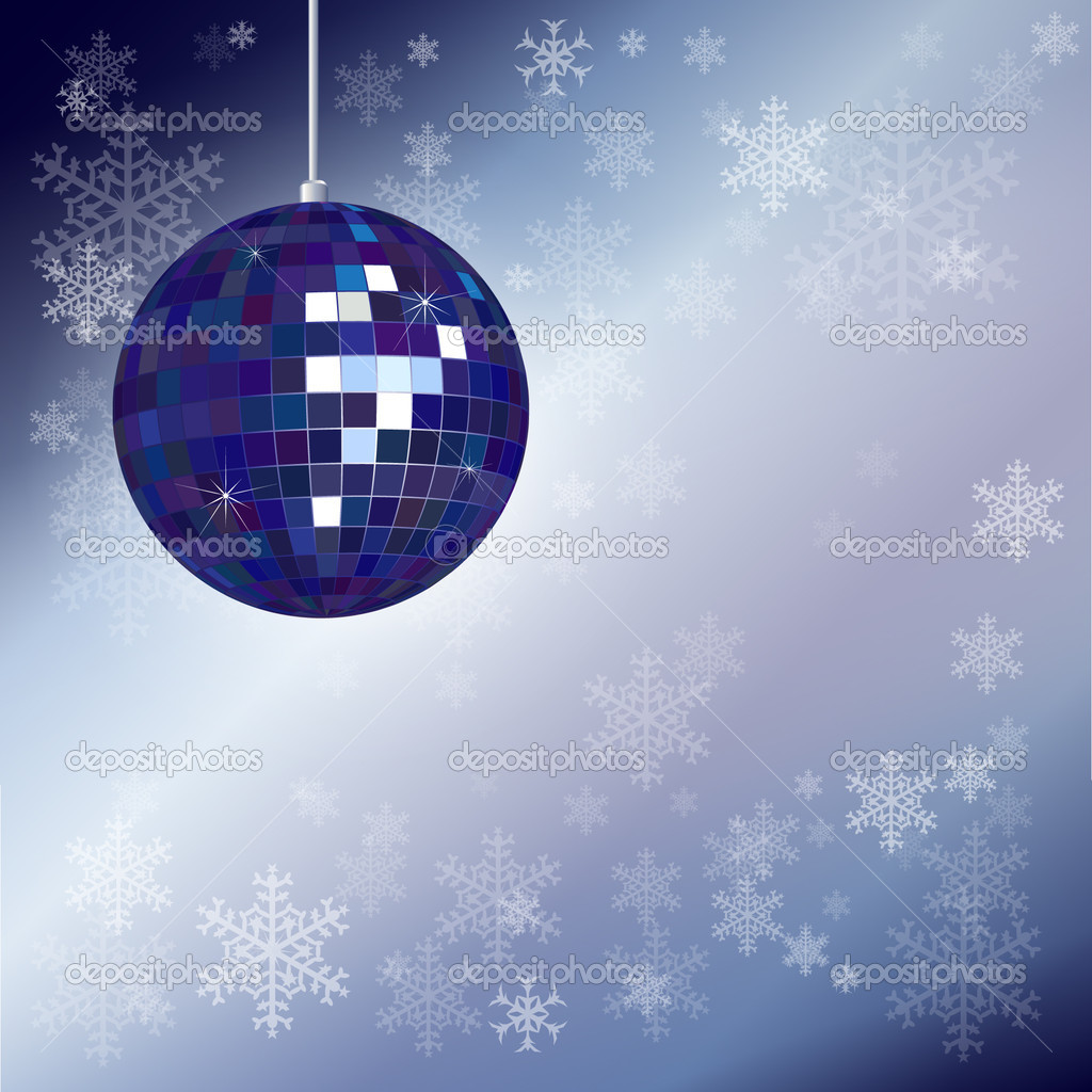 Christmas disco ball with snowflake background and space for your text. EPS10 vector format. — Stock Vector #11325705