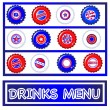 Bottle tops Fourth July Drinks menu — Stock Vector