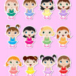 Baby ballerinas Stickers — Stock Vector