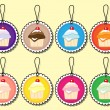 Stock Vector: Cupcake gift tags
