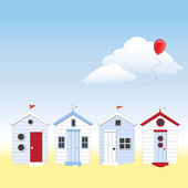Beach huts with copy space — Stock Vector