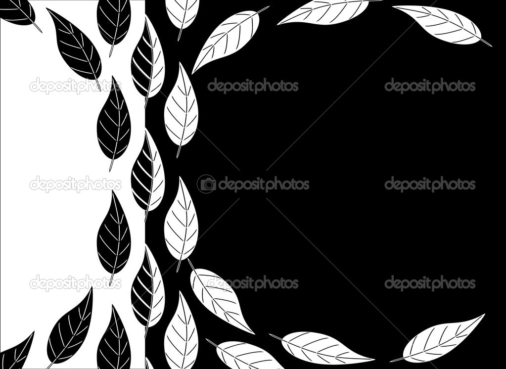 Black and white leaves background — Stock Vector © rixipix ...