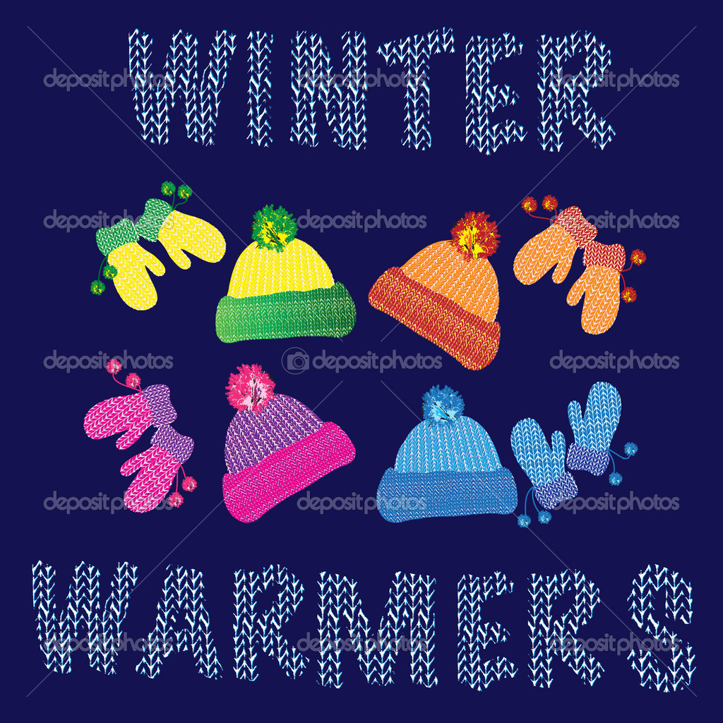 Knitted woolly hats and matching pairs of mittens in various colours. Also available in vector format. — Stock Vector #11330911