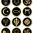 Religious symbols stickers gold on black — Stock Vector #11375264