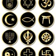 Stock Vector: Religious symbols stickers gold on black