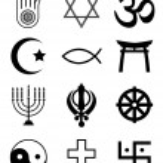 Religious symbols black & white — Stock Vector