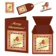 Stock Vector: Christmas robin stationery
