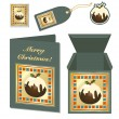 Royalty-Free Stock Vector Image: Christmas pudding stationery
