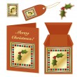Vector de stock : Christmas holly stationery
