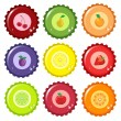 Royalty-Free Stock Vector: Fruit juice bottle caps