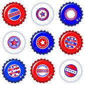 Stars & Stripes bottle caps — Stock Vector